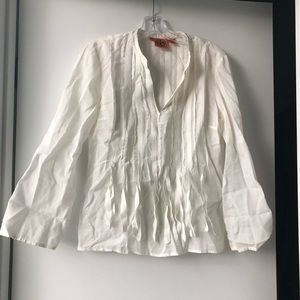 Tory Burch Tops - Tory Burch White Cotton Blouse With Ribbon Detail